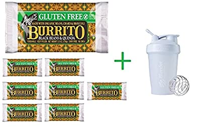 Amy's Gluten Free Black Bean Quinoa Burrito 5.50 oz (8 Pack) + Sundesa, BlenderBottle, Classic With Loop, White, 20 oz
