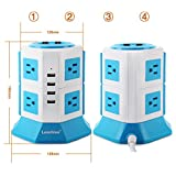 Lanshion 8 Outlet Surge Protector Power Strip with 4 USB Charging Ports 1875W Desktop USB Charging Station with 6.5-Feet Long Power Cord, 1000 Joules (White + Blue)