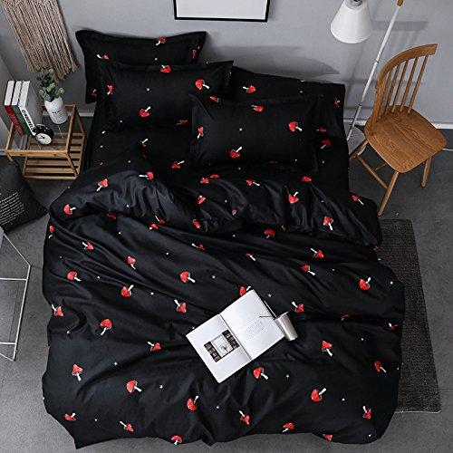"Price comparison product image KFZ Bed SET Bedding Duvet Cover Set Duvet Cover Flat Sheet Pillow Covers No Comforter Queen Size Sheets Set KY Animal Husky Dinosaur Mushroom Design 4pcs for Kids (Red Mushroom, Black, Queen 78""x91"")"