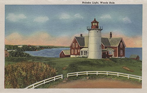 Nobska Lighthouse - Exterior View of Nobska Lighthouse, Cape Cod (16x24 SIGNED Print Master Giclee Print w/Certificate of Authenticity - Wall Decor Travel Poster)