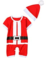 ETOSELL Baby Kids Cute Xmas Santa Claus Costume Outfit Bodysuit with a Hat