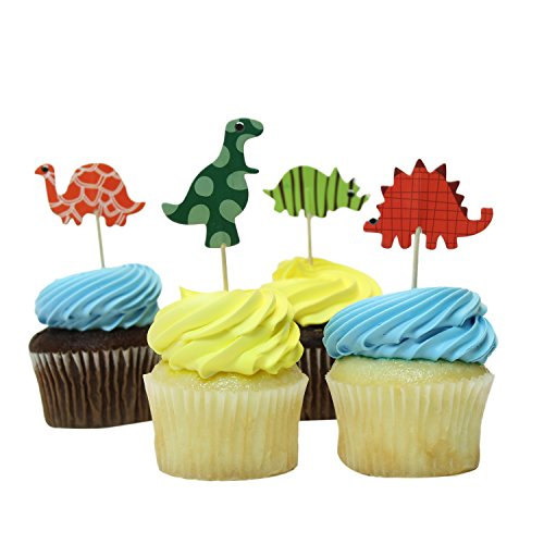 Bonitolife Decorative Assorted Dinosaur Cupcake Toppers, Food Fruit Picks for Arts & Crafts, Party Supply Favors, Decorations, Birthdays, and Celebrations - Set of 24