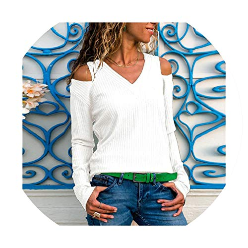 Womens Cold Shoulder Tops and Blouses Long Sleeve V-Neck Shirt Slim Fit Knitted Tunic Camisas Mujer White