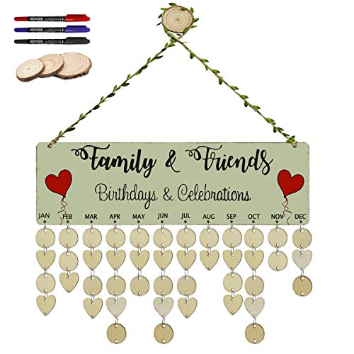 Hanging Plaque Large (ElekFX Family Birthday Board Wood Wall Hanging Plaque Birthday Celebrations DIY Reminder Heart Wall Calendar Board for Home Decor [with 100 Pack Discs])
