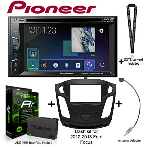 """Pioneer AVH501EX 6.2"""" DVD Receiver, iDatalink Maestro KIT-FOC1 Dash kit for 2012-2018 Ford Focus, ADS-MRR Interface Module and BAA22 Antenna Adapter and a SOTS Lanyard"""