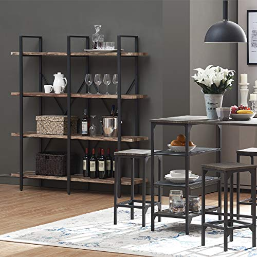 home & kitchen, furniture, home office furniture,  bookcases  image, O&K FURNITURE Double Wide 4-Tier Open Bookcases Furniture, Rustic Industrial Etagere Bookshelf, Large Book Shelves for Home Kitchen Organizer, Retro Brown in US5