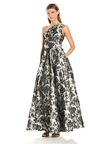 Carmen Marc Valvo Infusion Women's One Shoulder Printed Taffeta Ball Gown, Grey/Silver, 14 (Carmen Marc Valvo Wedding)
