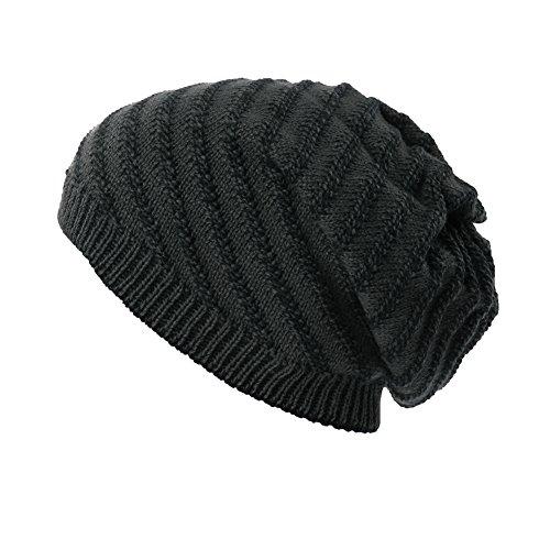 - SIGGI Unisex Cable Knit Slouch Beanie Hat for Men Skull Winter Chemo Beanies Grey