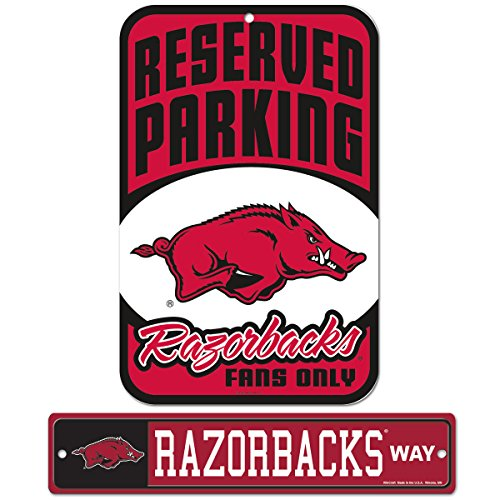 WinCraft Bundle - 2 Items: University of Arkansas Plastic Street Sign and Reserved Parking Sign