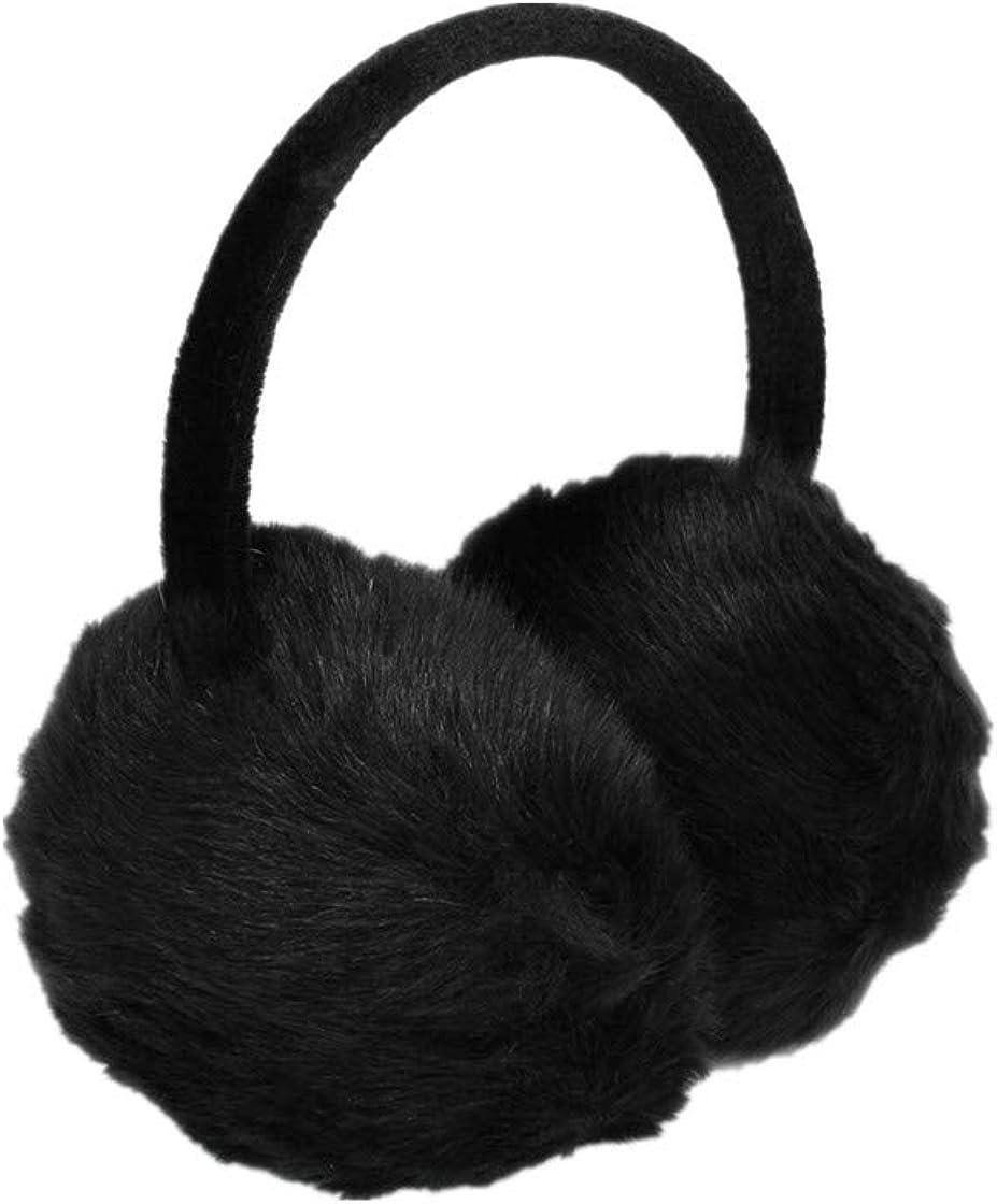 Woman Headband Black Faux Fur Winter Ear Cover Earmuffs