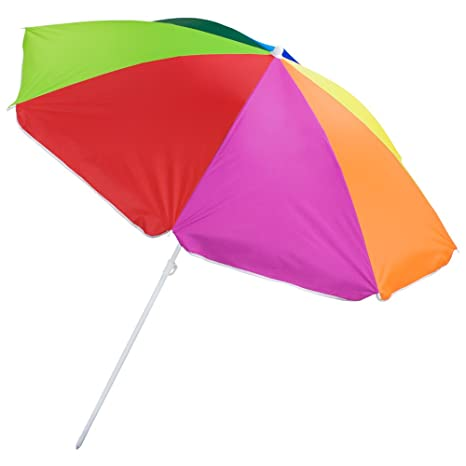 6 Foot Rainbow Beach And Patio Umbrella With Adjustable Height By Sol  Coastal