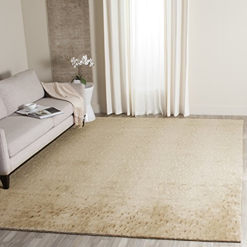 (Safavieh Tibetan Collection TB250E Hand-Knotted Light Beige and Camel Wool Area Rug (6' x 9'))