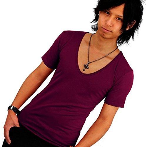 宇宙の雇用汚染[スワンユニオン] 深Vネック 細身 半袖Tシャツ ダークパープル f155/L