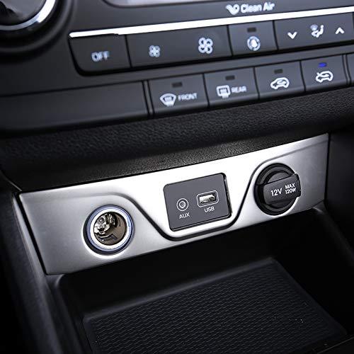 car Interior-QLND: for Hyundai Tucson 2015 2016 2017 2018 Car Interior Cigarette Lighter USB Port Cover Trim Sticker Decoration Molding Accessories