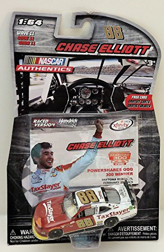 2016 Chase Elliott #88 Tax Slayer TaxSlayer Powershares Daytona 300 Xfinity Series Win Paint Scheme 1/64 Scale Diecast Lionel NASCAR Authentics with Collector Card
