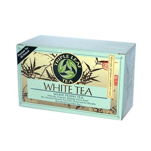 2 Packs of Triple Leaf Tea White Tea - 20 Tea Bags - Case Of 6