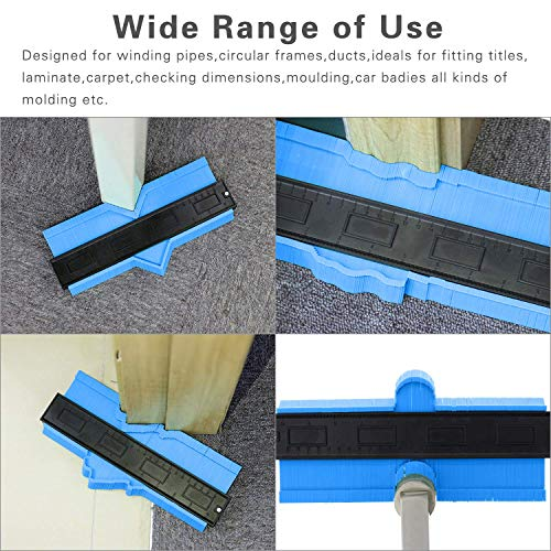 10 Inch Contour Gauge,Duplicator Plastic Profile Gauge Measure Ruler Easy Outline Gauge Standard Wood Marking Tool(Blue)