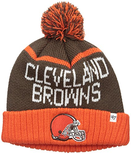 NFL Cleveland Browns '47 Linesman Cuff Knit Beanie with Pom, One Size, - Fabric Browns Cleveland Fleece