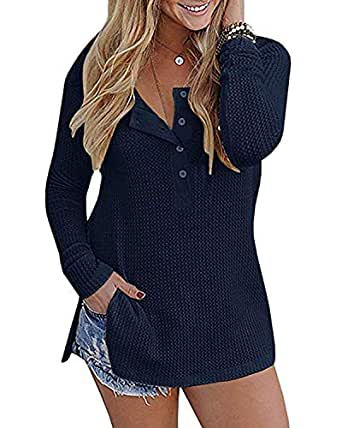 OVYNSZ Womens Casual Long Sleeve Button Down Henley Shirts Pullover Knit Loose Leisure Stylish Knit Sweaters Tops Blouse (Navy Blue, Small)