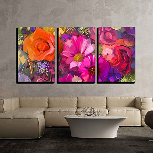 wall26 - 3 Piece Canvas Wall Art - Still Life of Yellow and Red Colour Flowers - Modern Home Decor Stretched and Framed Ready to Hang - 16