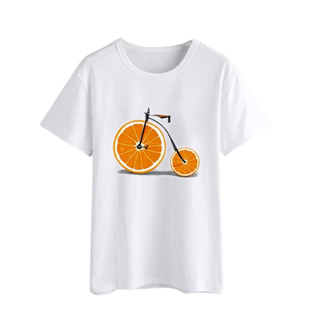 Duseedik Women's Summer Tops Casual Orange Print T-Shirt O-Neck Plus Size Short Sleeve Tank Tops Tunic Blouse