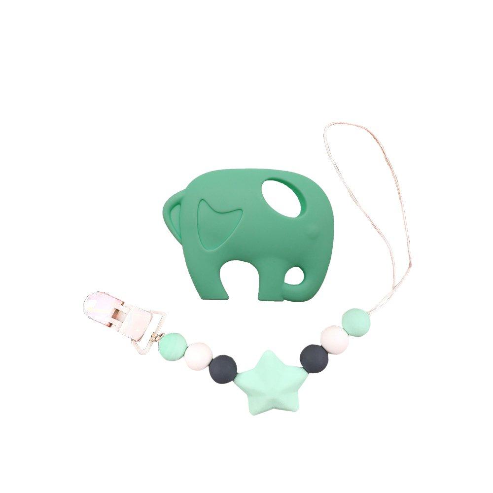 Juguete INCHANT elefante verde Mordedor con silicona Chupete ...