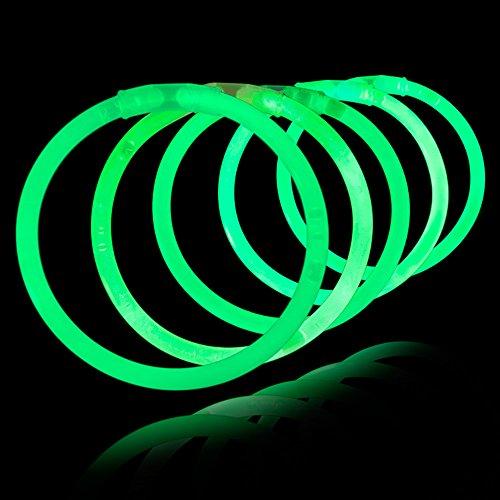 8' Lumistick Glowsticks Glow Stick Bracelets (Tube of 100) -- Green