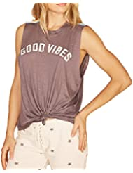 Vintage Havana Womens Good Vibes Retro Stripe Tank Charcoal S