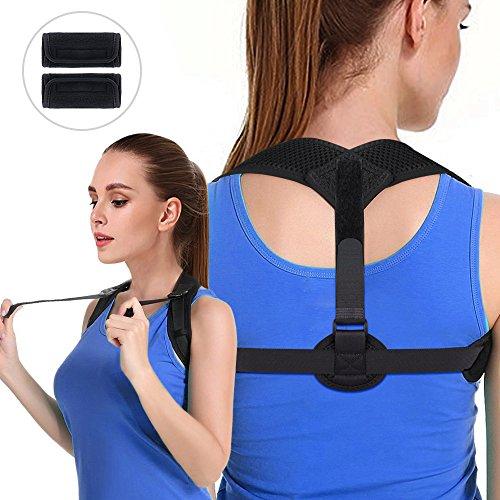 Posture Corrector for Women & Men - Vivibel Adjustable and Comfortable Posture Brace Spinal Shoulder Back Support Posture Trainer for Slouching & Hunching, Pull-belt Design, Include 2 Armpit Pads by Vivibel