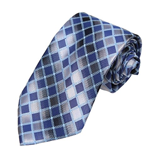 DAA7C16C Blue Grey Black Checkered Microfiber Tie Various For Party Neckwear By Dan (Blue Neckwear)