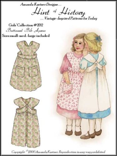 Edwardian Sewing Patterns- Dresses, Skirts, Blouses, Costumes 1910s Girls Buttoned Bib Apron Pattern $11.95 AT vintagedancer.com