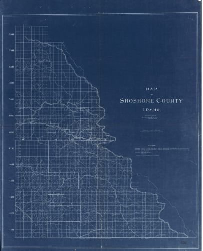 1907 Map of Shoshone County, Idaho - Size: 20x24 - Ready to Frame - Idaho | Shoshone County | Idaho