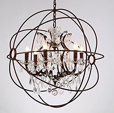 "6 Light Candelabra Crystal 24"" Chandelier Pendant Rustic Lamp Antique Atom Orbed Iron Frame Globe Ball"