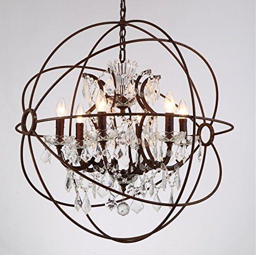 6 Light Candelabra Crystal 24 Chandelier Pendant Rustic Lamp Antique Atom Orbed Iron Frame Globe Ball