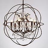 6 Light Candelabra Crystal 24' Chandelier Pendant Rustic Lamp Antique Atom Orbed Iron Frame Globe Ball