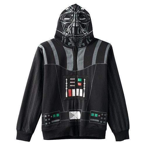 Darth Vader Face Mask (Star Wars Darth Vader Boys' Hoodie Jacket with Mesh Face Mask (Large))