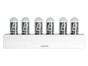 Karlsson Uhren karlsson tischuhr cathode bambusholz weiß 28 x 11 cm