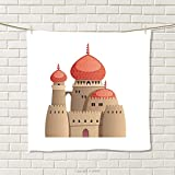 smallbeefly Tribal Hand Towel Arabian Castle Cartoon Style Fairy Tale Palace Medieval Historical Architecture Art Quick-Dry Towels Multicolor Size: W 20'' x L 27''