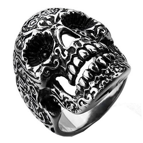 PSRINGS Steel Soldier Garden Flower Skull Ring TITANIUM s Rings Style Pretty Ring 8.0