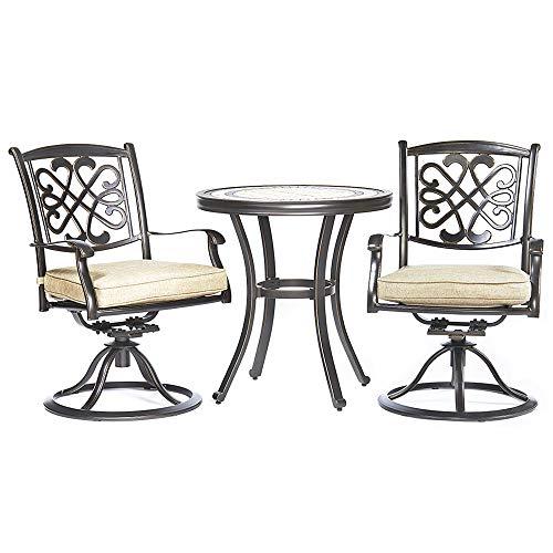 dali 3 Piece Bistro Set, Handmade Contemporary Round Table Patio Glider Chairs Garden Backyard Outdoor Furniture