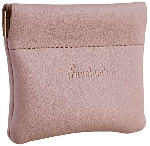 Travelambo Leather Squeeze Coin Purse Pouch Change Holder For Men & Women (Access Pink Champagne)
