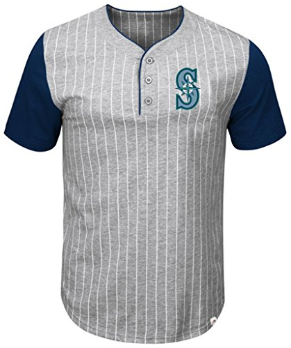 Pinstripe Henley Tee (VF Seattle Mariners MLB Mens Majestic Life Or Death Pinstripe Henley Shirt Gray Big & Tall Sizes (3XT))