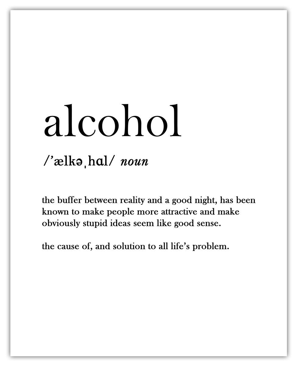 Alcohol Definition Typography Wall Art Print: Unique Room Decor for Girls & Women - (8x10) Unframed Picture - Great Gift Idea