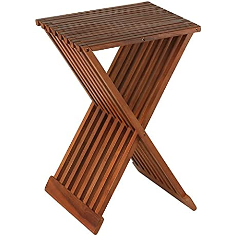 Bare Decor Leaf Folding Counterstool In Solid Teak Wood 24 High