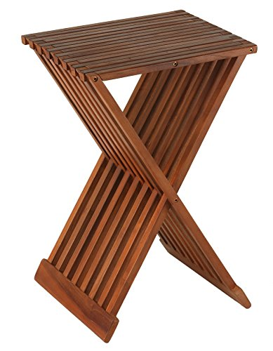Teak Folding Stool - Bare Decor Leaf Folding Counterstool in Solid Teak Wood 24