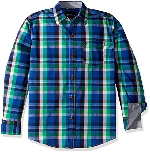Nautica Boys Long Sleeve Plaid Woven Shirt
