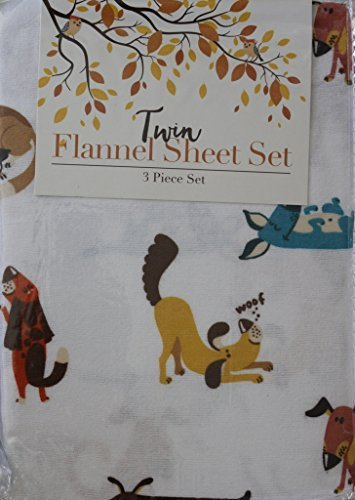 Dogs Twin Flannel 3 Piece Sheet Set - 100% Cotton
