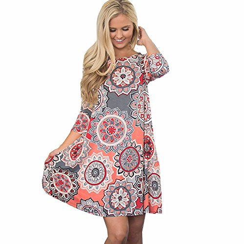POTO Dress Clearance, Women's Summer Vintage Boho Maxi Evening Party Dress Beach Floral Printed Dress Sundress (M, Pink) ()