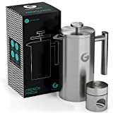 Stainless Steel Cafetiere Coffee Maker | 1L 35Oz | Best French Press - Coffee Hotter Longer with Vacuum Insulated Sides - FREE Mini Coffee Storage Canist
