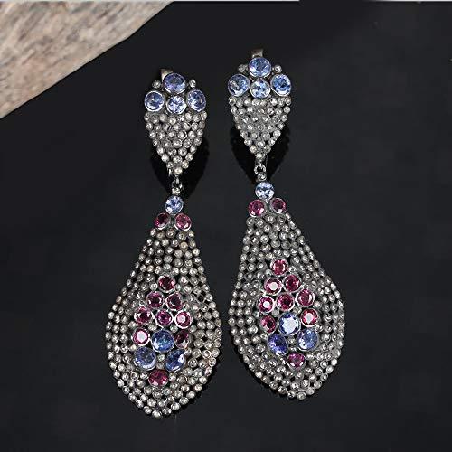 Natural 4.75 Ct. Diamond Tanzanite Rhodolite Designer Dangle Earrings Solid 925 Silver Handmade Fine Jewelry Christmas Gift For Her